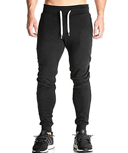 donhobo Herren Jogginghose Sporthose Trainingshose Fitness Slim Fit Hose Freizeithose Joggers Streetwear mit Reißverschlusstaschen (Schwarz,XL)