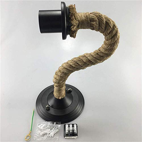 Lámpara de pared de techo de metal negro vintage cuerda de una...