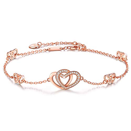 DESIMTION Anklets for Women S925 Sterling Silver Hotwife Womens Heart Foot Rose Gold Adjustable Anklets Ankle Large Bracelets for Women Gift for Christmas Day