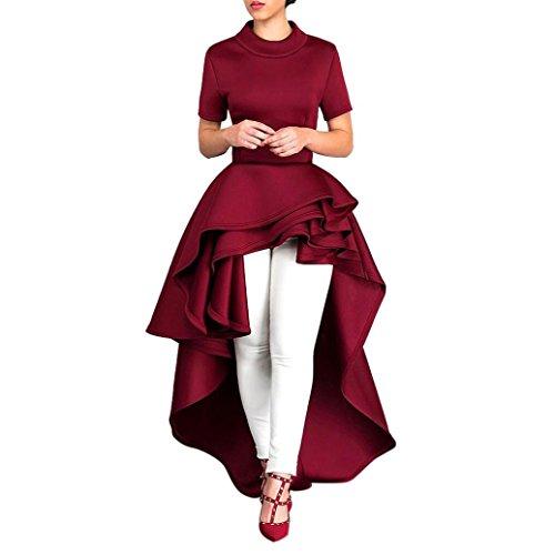 Goddessvan Women Short Sleeve High Low Peplum Dress Bodycon Party Club Asymmetrical Dress (2XL, Red)