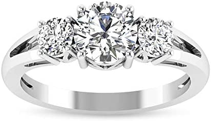 Round Cut 1 2CT Certified Three Ring Women Stone Engagement Tri Spring new Clearance SALE! Limited time! work