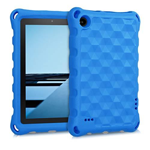 kwmobile Cover Compatibile con Amazon Fire 7 Tablet (2015/2017/2019) - Custodia Tablet in Silicone TPU Antiurto - Backcover per Bambini - Blu