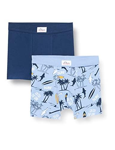 s.Oliver Jungen Short Allover blau Boxershorts, ice blue, 128