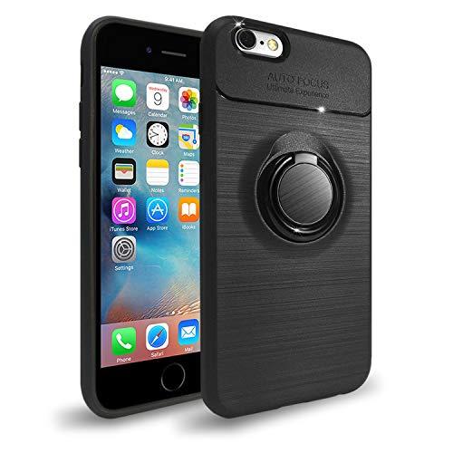 NEW'C Funda con Soporte Anillo para iPhone 6/6s, Funda Protectora absorción de Impactos y Fibra de Carbono [Gel Flex Silicone]