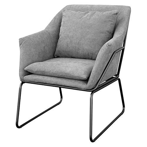 SVITA Josie Sessel gepolstert Beistellsessel Lounge Couch Einzelsofa Relaxsessel Seat Fernsehsessel Stoff inkl. Kissen Stuhl Samt (Hellgrau, Stoff)