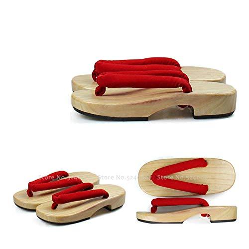 JJIAOJJ Zapatillas japonesas de madera anime Cosplay sandalias japonesas geta zuecos chanclas de madera para exteriores - 4_35 para mujeres y hombres (color: 3, tamaño: 37)