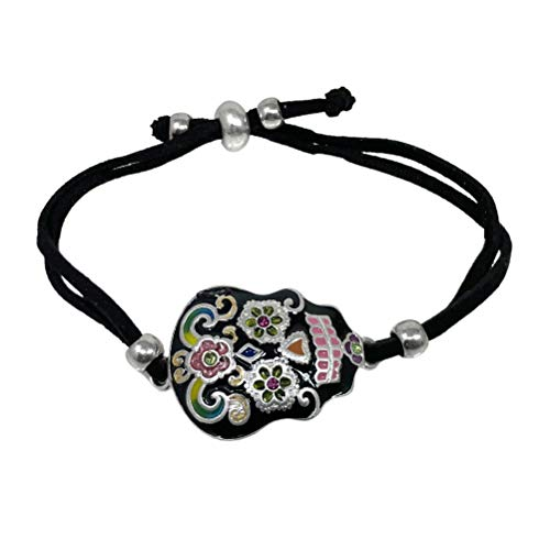 Elosee Sugar Skull Hand Painted Charm Suede Adjustable Bracelet (Black)