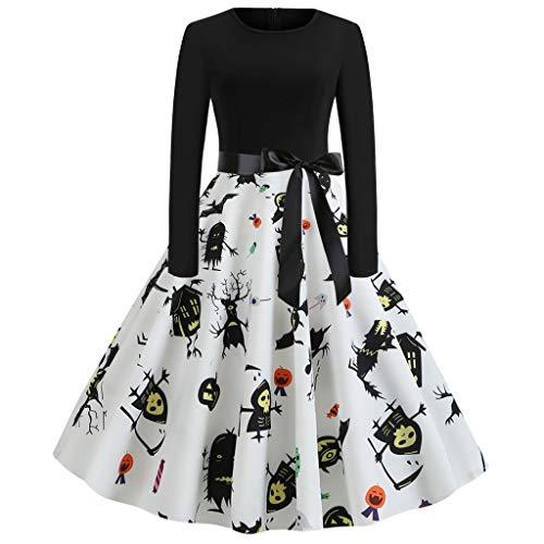 COZOCO Falda De Manga Larga Vintage para Mujer Vestido De Fiesta De Fiesta De Halloween Vestido Floral S 2XL