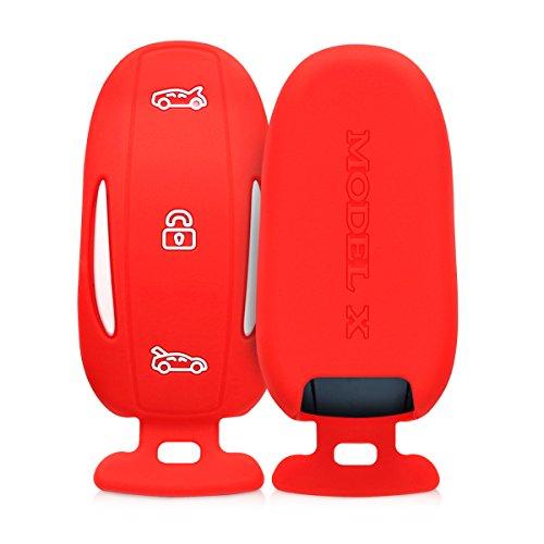 kwmobile Autoschlüssel Hülle kompatibel mit Tesla Model X Autoschlüssel - Silikon Schutzhülle Schlüsselhülle Cover in Rot