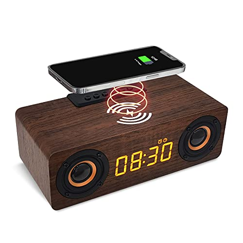 Digital Alarm Clock with Wireless Charger and Bluetooth Speaker,Support MP3,TF Card,FM Radio Playback,Wooden Electronic LED Time Display(Brown)