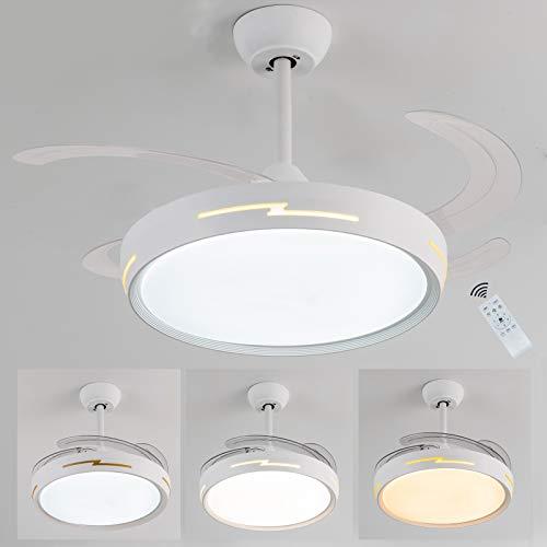 Ventilador techo con luz,Ventiladores de techo con luz,42 pulgadas con iluminación y mando a distancia,lamparas con ventilador de techo,4 aspas retráctiles para comedor,restaurante,salón, dormitorio