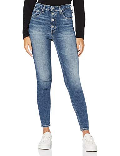 Calvin Klein High Rise Super Skinny Ankle Pantalones, Bb102/Mid Blue Shank, 32W Short para Mujer