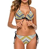 Conjunto de Bikini de Dos Piezas con Cuello en V y patrón étnico Tribal para Mujer, Traje de baño Triangular con Cuello Halter M