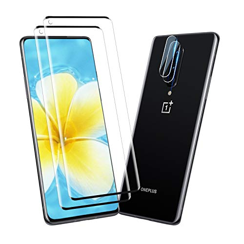 [2+2Pack] YRMJK for OnePlus 8 Camera Lens Protector Screen Protector, HD Tempered Glass [Anti-Scratch][Case Friendly] 9H Hardness 3D Full Coverage Compatible for OnePlus 8