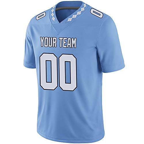 Pullonsy Carolina Blue Custom Football Jerseys for Men Embroidered Team Name and Your Numbers,Light Blue with White-Black,Size L