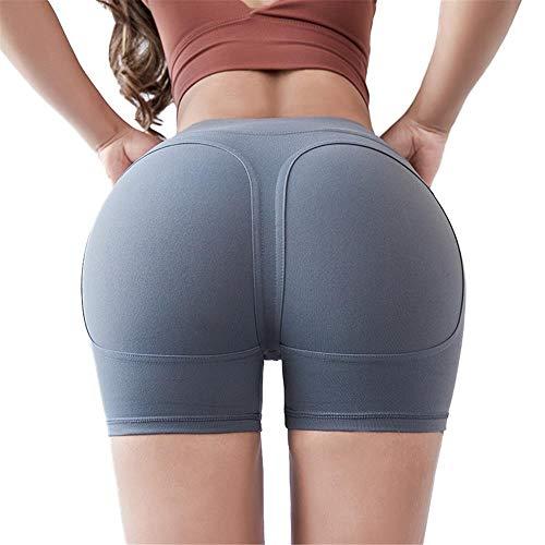 HUXIZ Pantalones de yoga sexy de cintura alta pantalones cortos de fitness femeninos elásticos apretados caderas de secado rápido correr deportes yoga cortos (color gris, tamaño: L)