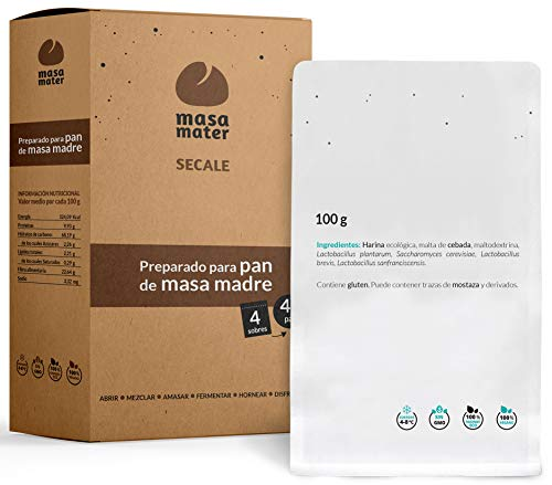 Microset Masa Madre Activa para 4 Kilos de Pan -  3 lactobacilos,  levaduras y Malta ecológica -  Pan fácil de Hacer -  Contiene 4 Sobres de 100g para Mezclar con 500g de harina y 400 ml de Agua Cada uno