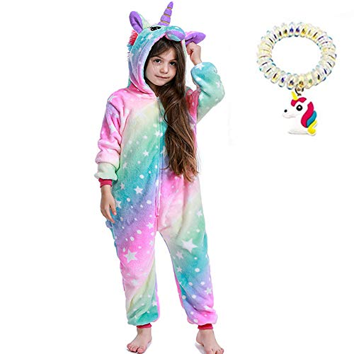 Kinder Einhorn Overall Pyjama Mädchen Geschenk Animal Cosplay Home Outfit Gr. 8-9 Jahre, Bunte Sternenhimmel