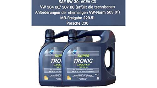 Aral Super Tronic Longlife III 5W-30 Motorenöl, 8L (2X4L)