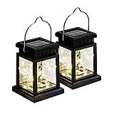 LED Solarlaterne Solarglas 20 LEDs (2m Lichterkette) warmweiß inkl. Akku - 2 Gläser im Set Gartenlampe Solarlampe Laterne Solar-Laterne (2x Laterne mit LED Streifen)