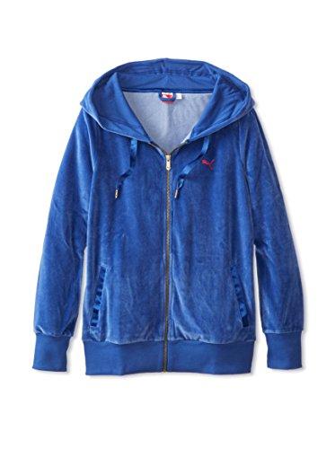 PUMA Women's Velour Jacket, Mazarin Blue, Small