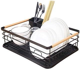 Kitchenista Égouttoir à vaisselle en métal avec plateau d'égouttement, égouttoir à vaisselle et porte-couverts amovible – ...
