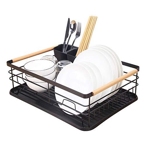 Kitchenista Estante de metal para platos con bandeja de goteo, escurridor de platos y soporte para cubiertos extraíble, color negro