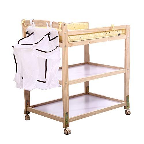 Table à Langer Unité Portable De sur Roues, Commode pour Bébé avec Sac De Rangement, Réglable en Hauteur, (Bois Naturel)