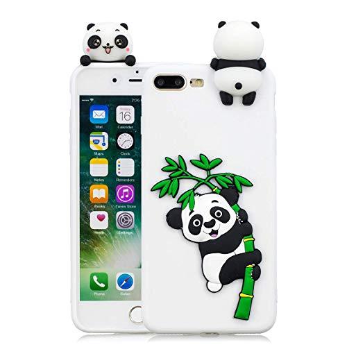 Huiran Cover iPhone 7 Plus Silicone Panda, Cover iPhone 8 Plus Silicone Fenicottero, Cover 3D Animali in Silicone Morbido per Apple iPhone 8 Plus Custodia Verde in Gomma per Ragazze - Bianca