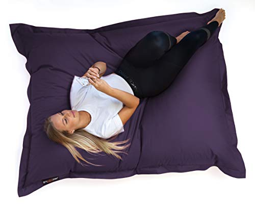 SNOOZER® Riesensitzsack Bean Bag Sitzkissen Indoor Outdoor XXL Sitzsack 400l Füllung (Grey Purpel)