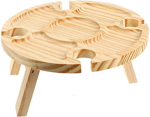 WEUNMPDF Mesa redonda de picnic con soporte de copa de vino, mini divisor de mesa plegable de madera 2 en 1 para exteriores e interiores, pequeña mesa de senderismo ligera, mesa de picnic de madera
