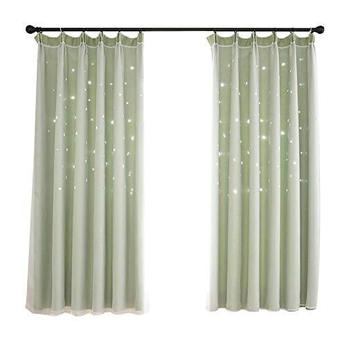 XdiseD9Xsmao Uitstekende lichte holle sterren dubbellaags gordijn draperen, duurzame lichte raamdecoratie voor woonkamer slaapkamer hotel groen