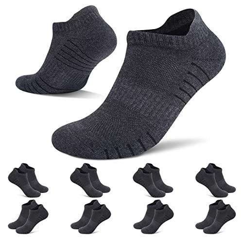 HISOKOI 8 Pares Calcetines Tobilleros Hombre Mujer Calcetines Deportivos Cortos Running Transpirable,Grisoscuro 43-46