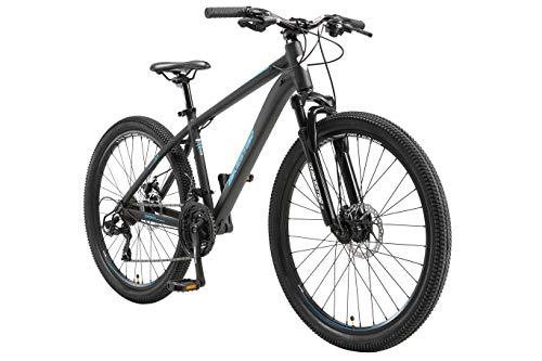 BIKESTAR Hardtail Mountain Bike in Alluminio, Freni a Disco, 26' | Bicicletta MTB Telaio 16' Cambio Shimano a 21 velocità, sospensioni | Nero Blu