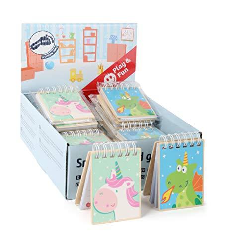 Small Foot 11041 Display Notizbücher Einhorn Luna und Drache Merlin 24 Stück, FSC 100%-Zertifiziert, kleine Notizblöcke für Kinder Spielzeug, Mehrfarbig