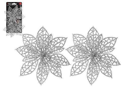 Snow White 2 x Plastic Clip On Silver Poinsettia Christmas Tree Decoration
