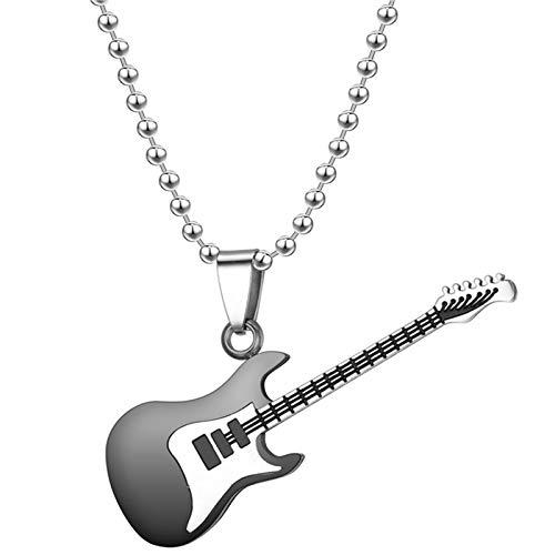 Collar colgante de guitarra de acero inoxidable para pareja simple y fresco Rock Music Jewelry Regalo Folk Guitar colgante collar