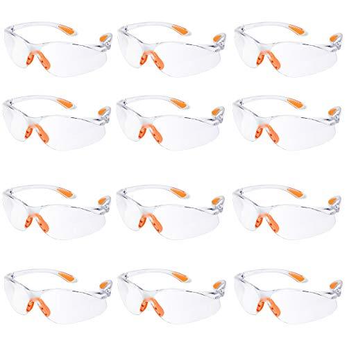 Gafas de seguridad Paquete de 12 Gafas Protectoras Trabajo con Lentes Transparentes Gafas de Proteccion Laboral Antivaho/Antipolvo/Antiarañazos