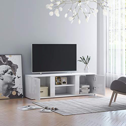Cikonielf Mobile Porta TV con 2 Ante e 2 Scomparti Aperti,Credenza retrò,Mobiletto Porta TV Moderno in Legno,Mobile Basso per TV,Mobiletto Porta Stereo,120 x 34 x 37 cm -Bianco Lucido
