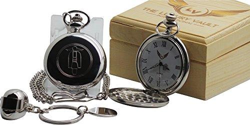 Scooter Mod Zilver Pocket Horloge Volledige Jager Case en Crash Helm Sleutelhanger Sleutelhanger in Luxe Houten Geschenkdoos