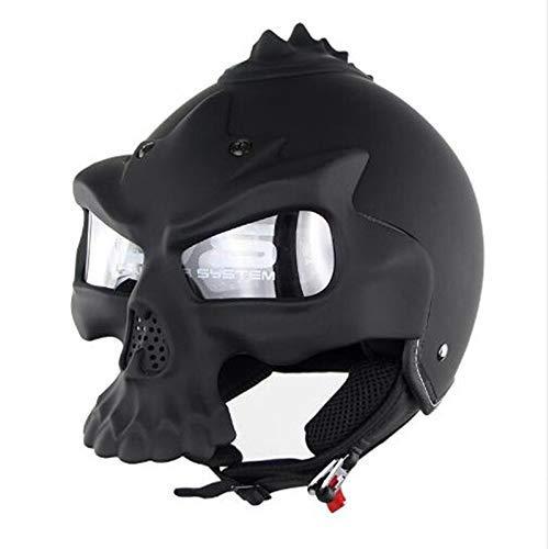 kyman Fahrradhelm, Doppel-Objektiv Motorrad-Schädel Helme Half Face Harley Helm...