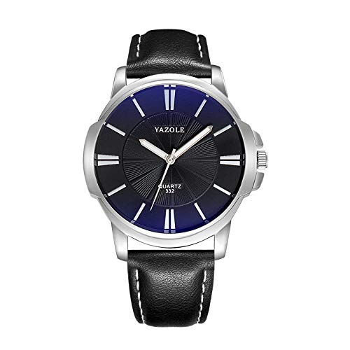 Yazole 332 - Reloj de pulsera para hombre, acero inoxidable, resistente al agua, mecánico, de cuarzo, esfera azul, correa negra