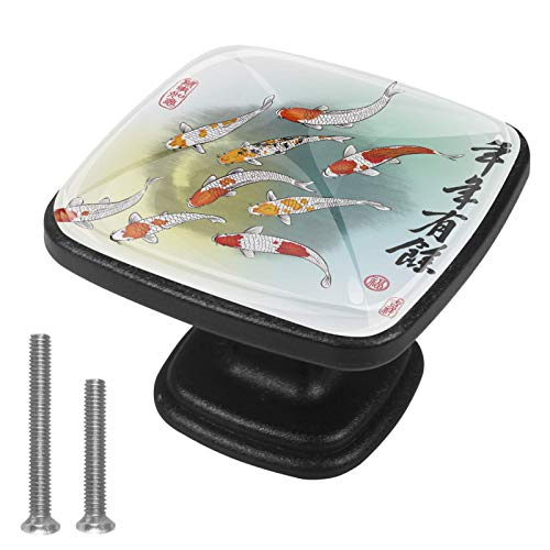 Carpa China Pomo,4 Piezas Tiradores de Muebles Perillas de Natural Perillas del Gabinete con Tornillo para Puertas Armarios de Cocina Tirador Cajones