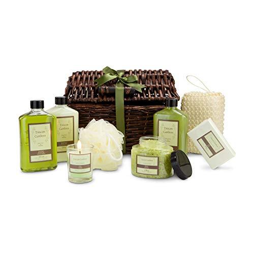 Römer Wellness Coffret cadeau : Arezzo XXL, 9 pièces: 1 gel douche, 1 lotion, 1 bain moussant, 1 bougie, 1 sels de bain, 1 savon, 1 sisal et 1 éponge en maille; aloe vera ; 28 x 27 x 19 cm