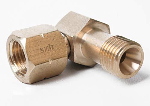 SZH Verbindungswinkel Gas 1/4' Links 90 Grad Eckverbinder Messing für Gasschlauch Winkel für Gaskocher Gasherd oder Gasflaschen Anschluß im Caravan Wohnmobile oder Camper