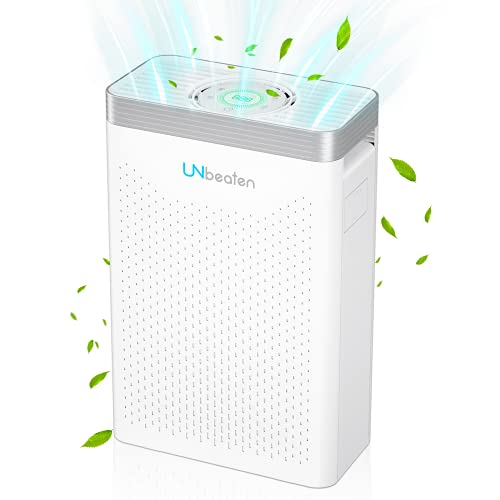 UNbeaten Air Purifier with H13 True HEPA Filter with 12H Timer, Auto Mode, 4 Speeds Adjustable and Filter Change Reminder, Remove Pollen, Smoke, Dust, Pets Dander, Allergen and Odours