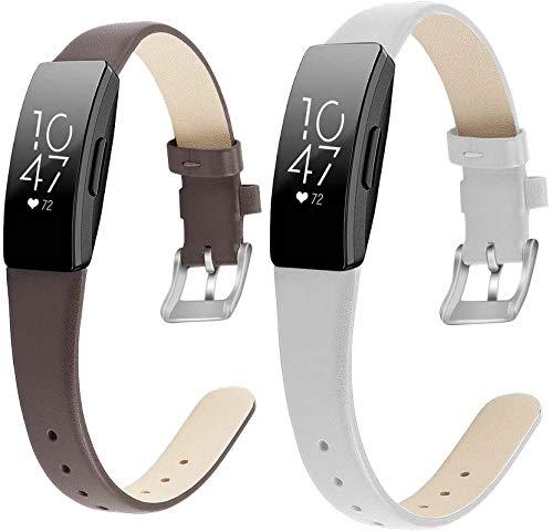 Gransho Correa de Reloj de Piel con Hebilla Compatible con Fitbit Inspire HR/Inspire, Estilo de Vintage, Replacement Banda (Pattern 3+Pattern 4)