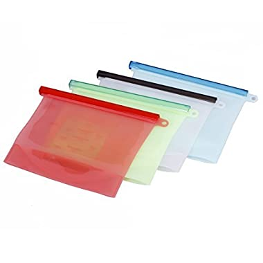 4pcs 1L Reusable Silicone Kitchen Food Fresh Bags 30oz 4cups Seal Fridge Storage Bag, Versatile Leak-Proof Bag