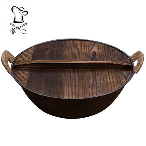 NYKK Altmodischer Binaural Eisen Wok, Dicker Boden unbeschichteter Anti-Stick-Pfanne, Wok + Holzdeckel, verwendet für Gasherd, 36 cm lalay (Size : 36cm)