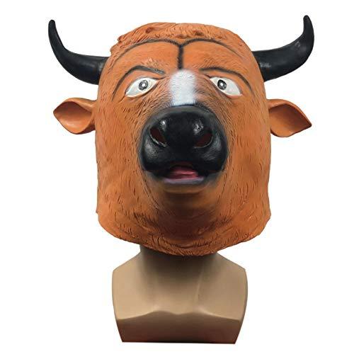 POOO Nueva mscara de ltex para la Cabeza del Diablo de la Vaca, Sombrero de Animal Divertido para la Fiesta de Disfraces, Accesorios de Parodia de Carnaval de Fiesta